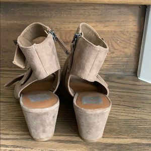 Dolce Vita Shoes - Dolce Vita tan vegan suede buckle heeled sandal
